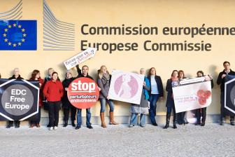 EDC-Free Europe campaigners at the European Commission. Photo: EDC-Free Europe